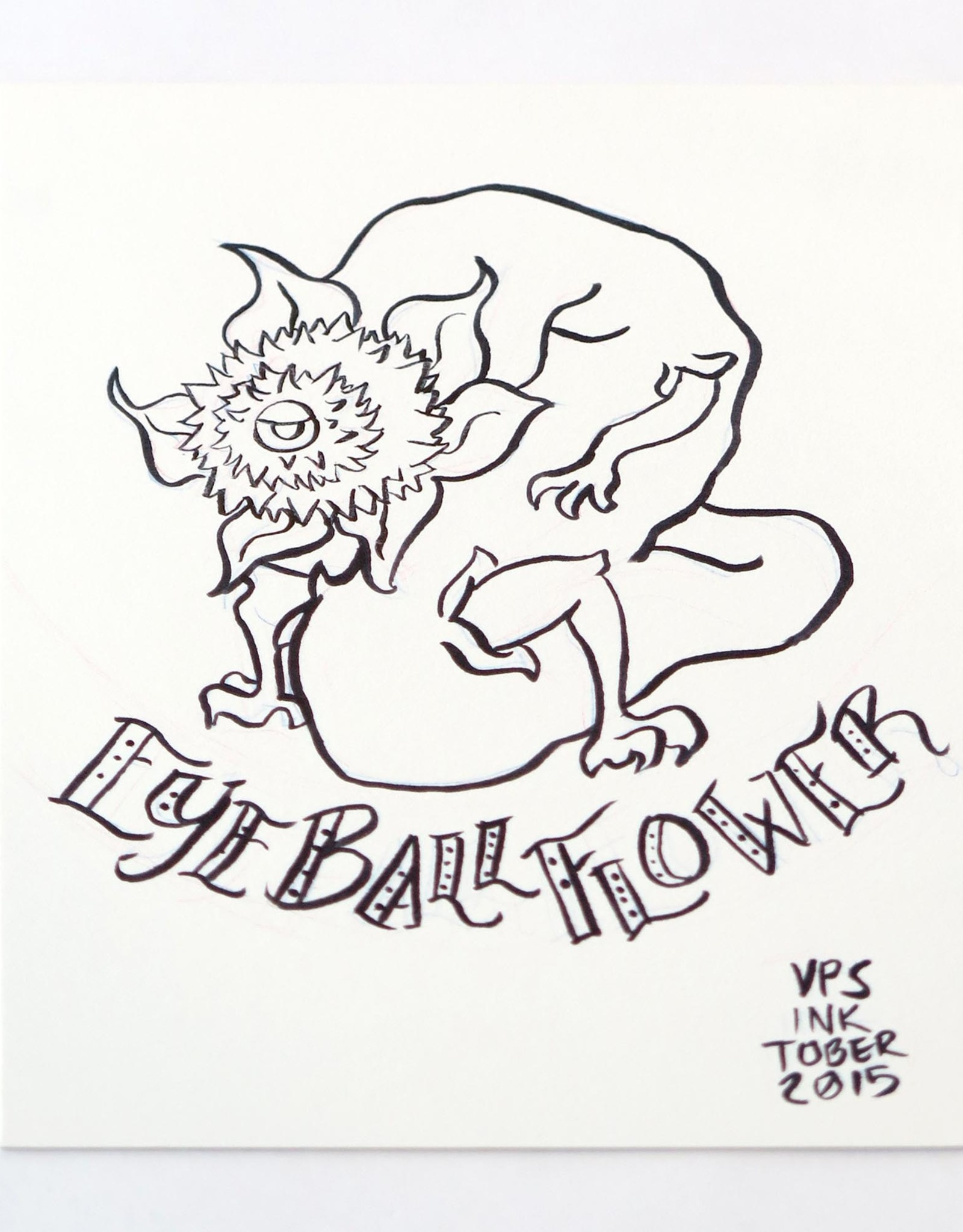"""Eyeball flower"" Inktober original drawing. Vixtopher"