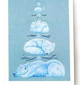 Megan Rivera Winter Animal Card by Megan Rivera