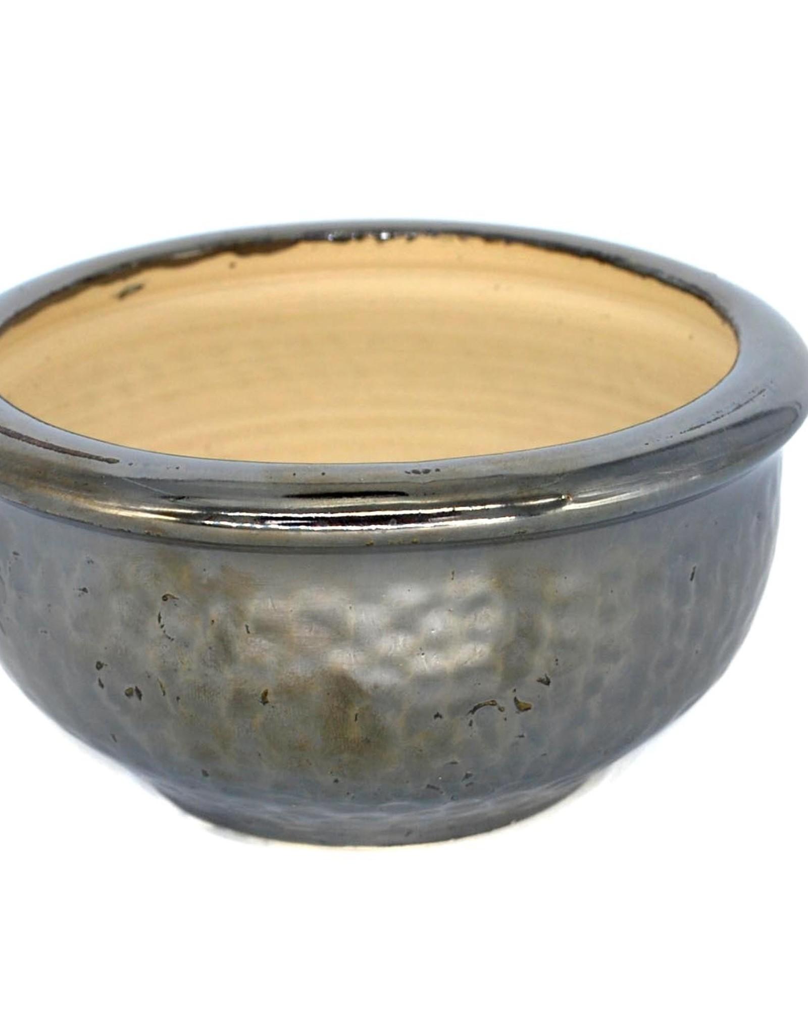 Metallic silver dimpled ceramic plant pot by Ronda Ruby Ceramics