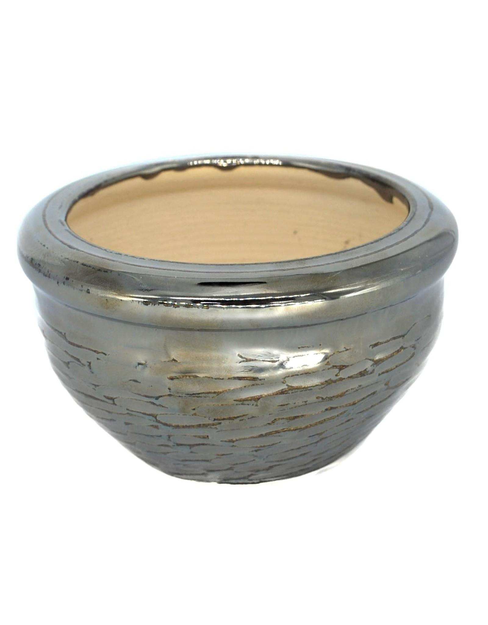 Metallic silver faceted ceramic plant pot by Ronda Ruby Ceramics