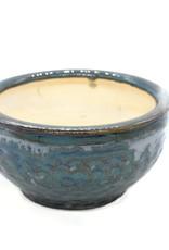 Metallic green ceramic plant pot by Ronda Ruby Ceramics