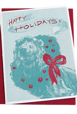 Art Institute Lion Holiday Card, screenprinted, by Lily Cozzens