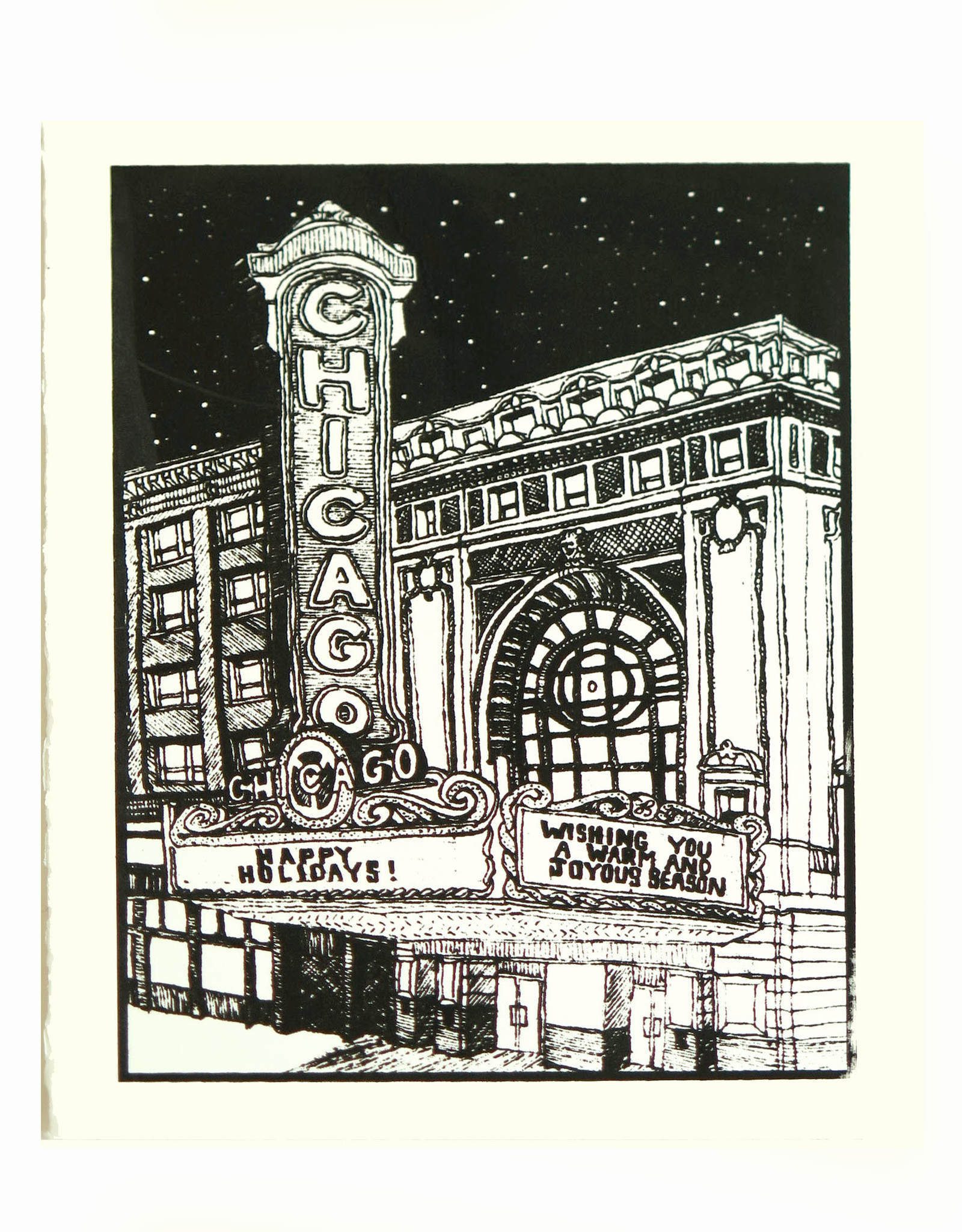 Screenprinted card on cream cardstock, LIly Cozzens