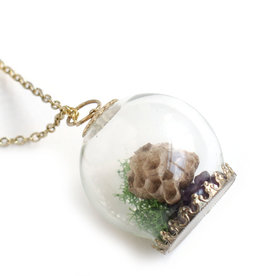 Peppermint Emporium Wasp Nest Terrarium Necklace,  Peppermint Emporium