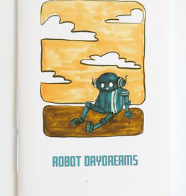 """Robot Daydream"" (yellow and green) Blank Notebook, Vixtopher"