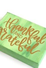 """""""Thankful and grateful"""" 5x7 Calligraphy Canvas by Jennifer Pollack"""