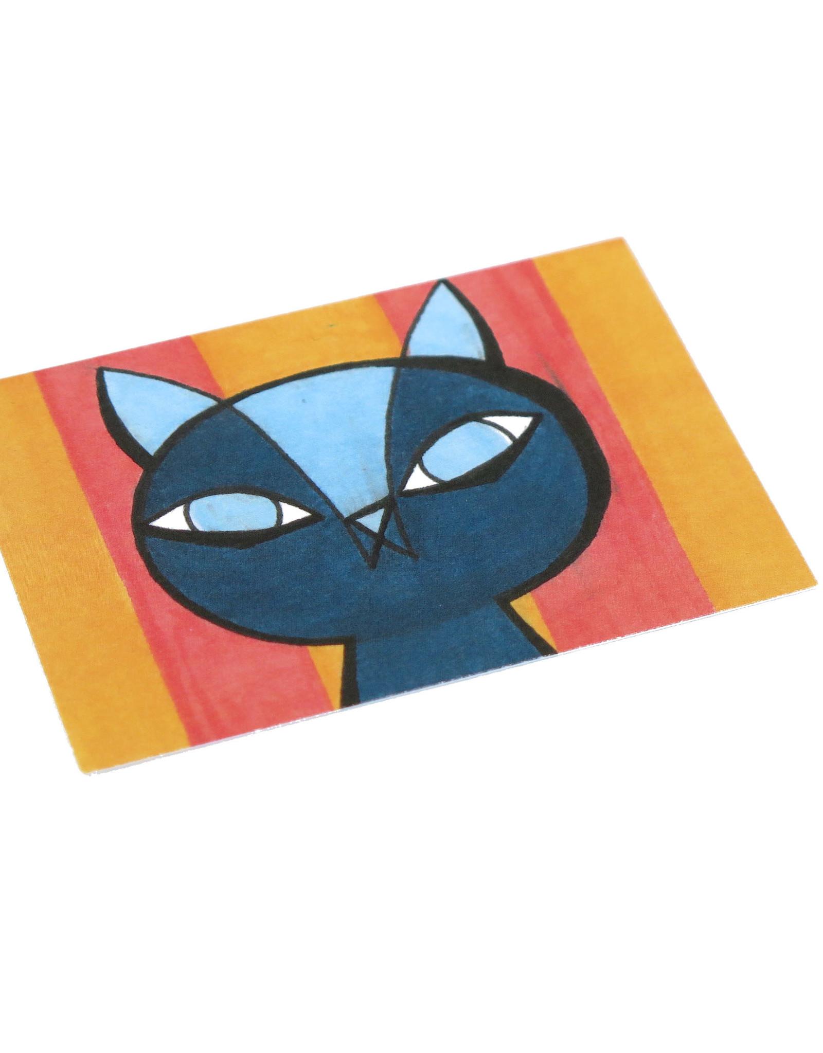 "Eve Senderhauf ""Striped cat"" Small Art Card by Eve Senderhauf"