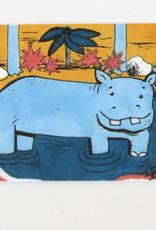 """Hippo"" Small Art Card by Eve Senderhauf"