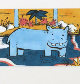 """Hippo"" Small Art Card by Eve Senderhauf"