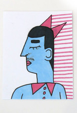 """""""Man with moustache"""" Small Art Card by Eve Senderhauf"""