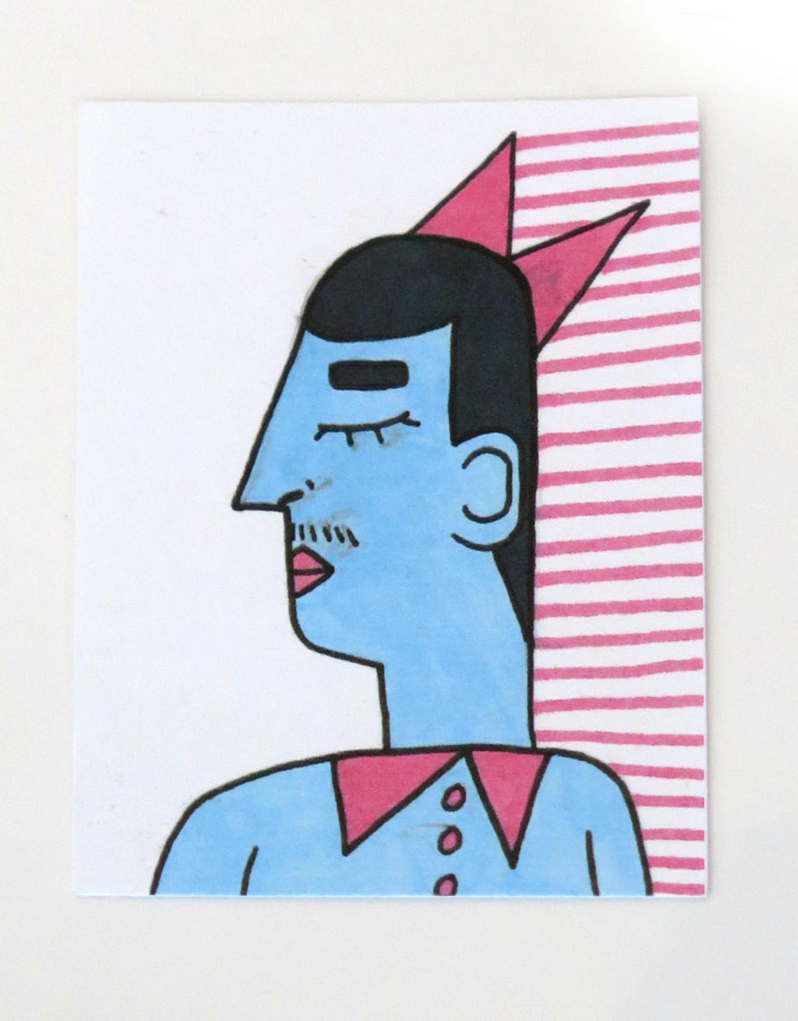 "Eve Senderhauf ""Man with moustache"" Small Art Card by Eve Senderhauf"