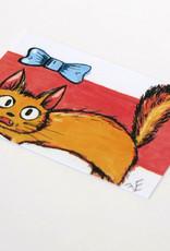 "Eve Senderhauf ""Cat with bow"" Small Art Card by Eve Senderhauf"