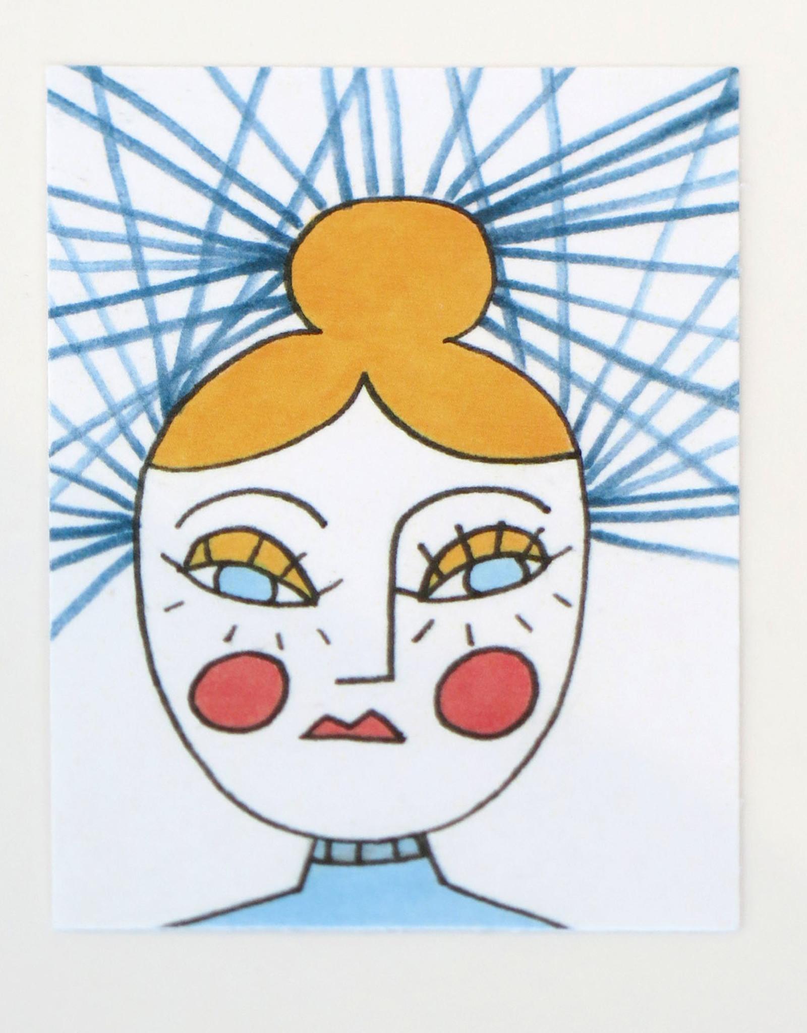 "Eve Senderhauf ""Girl with  bun"" Small Art Card by Eve Senderhauf"