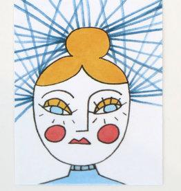 """Girl with  bun"" Small Art Card by Eve Senderhauf"