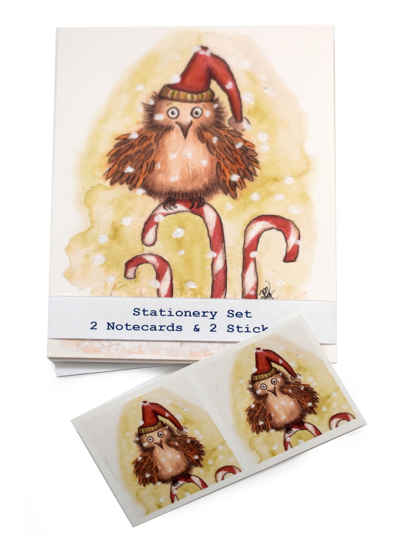 Melissa Rohr Gindling Holiday Owl Stationery Set by Melissa Rohr Gindling