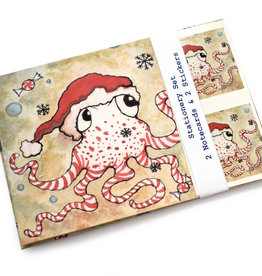 Melissa Rohr Gindling Holiday Octopus Stationery Set by Melissa Rohr Gindling