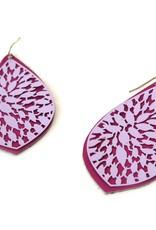 Upcycled Fuscia Leather Earrings by Eva Airam Studio