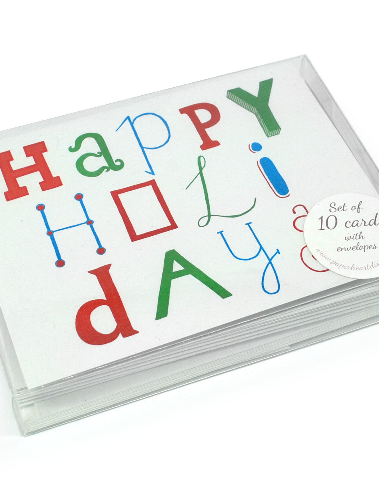 Paper Heart Dispatch Box Set of 10 Happy Holiday Mixed Typography Cards by Jennifer Hines