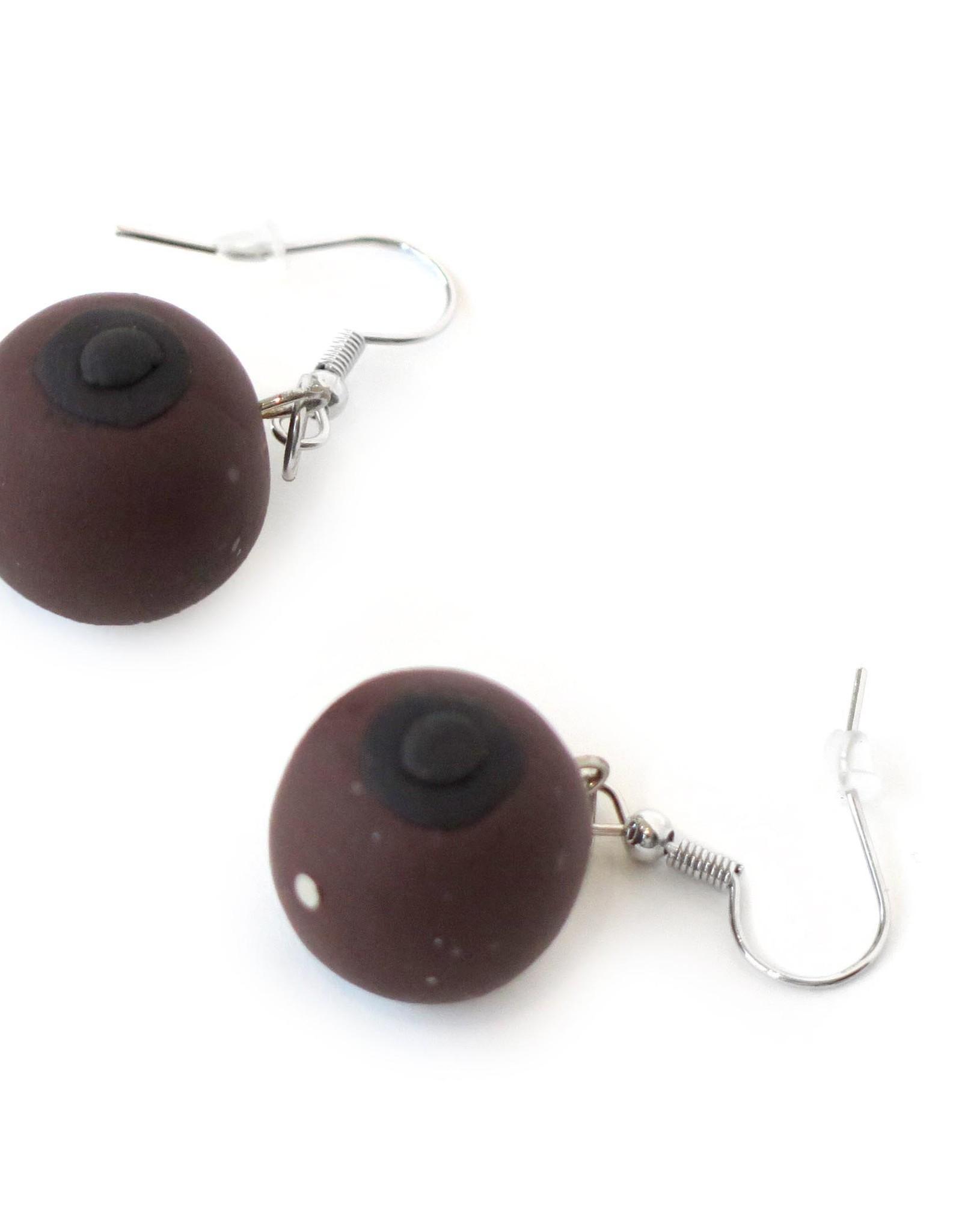 Feminist Boob Earrings (skin variant 3, dark brown) by Eve Senderhauf
