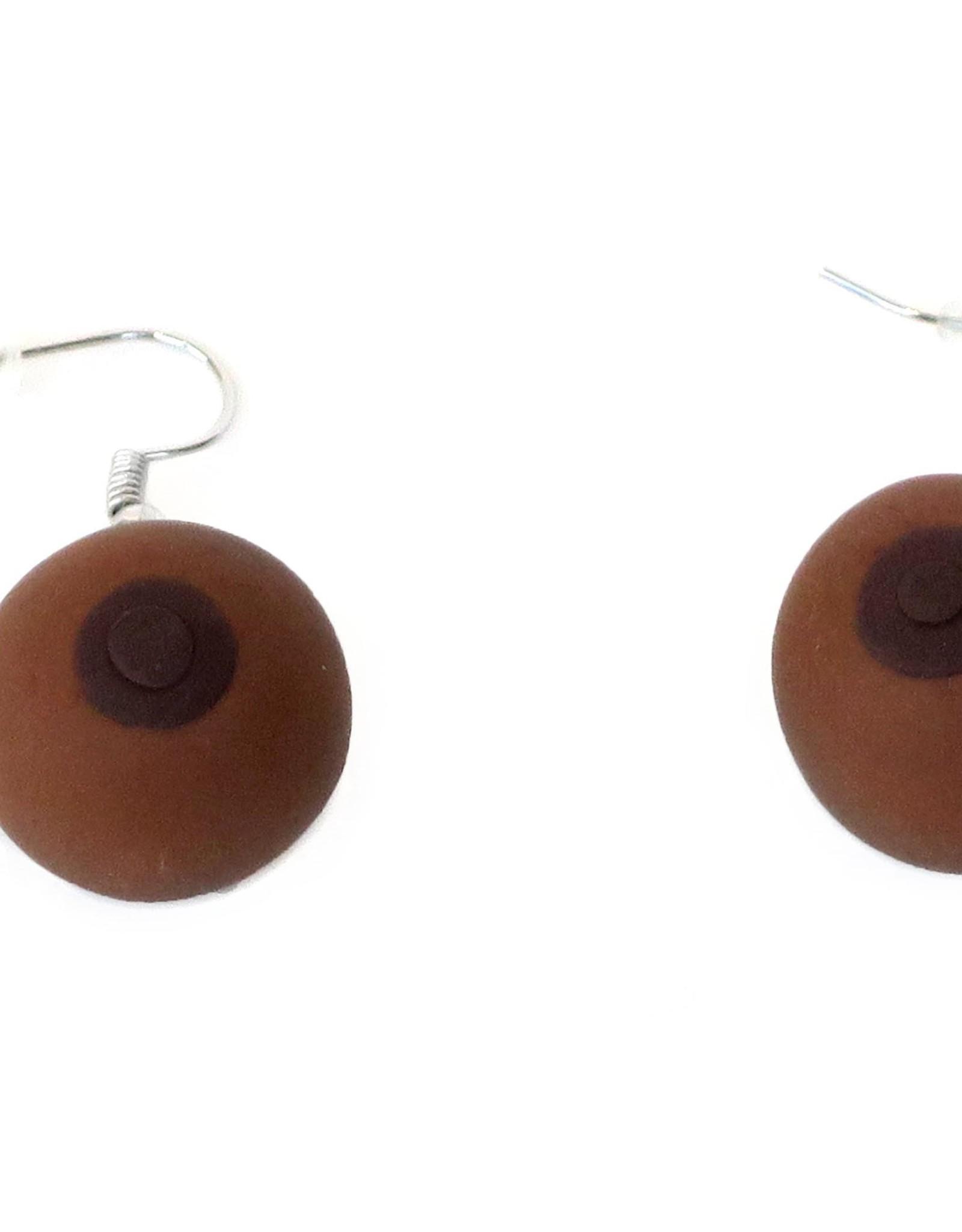 Feminist Boob Earrings (skin variant 2, brown) by Eve Senderhauf