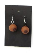 Eve Senderhauf Feminist Boob Earrings (skin variant 2, brown) by Eve Senderhauf