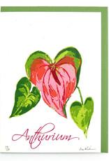 Hearts & Flowers: Anthurium, Letterpress Card, Don Widmer