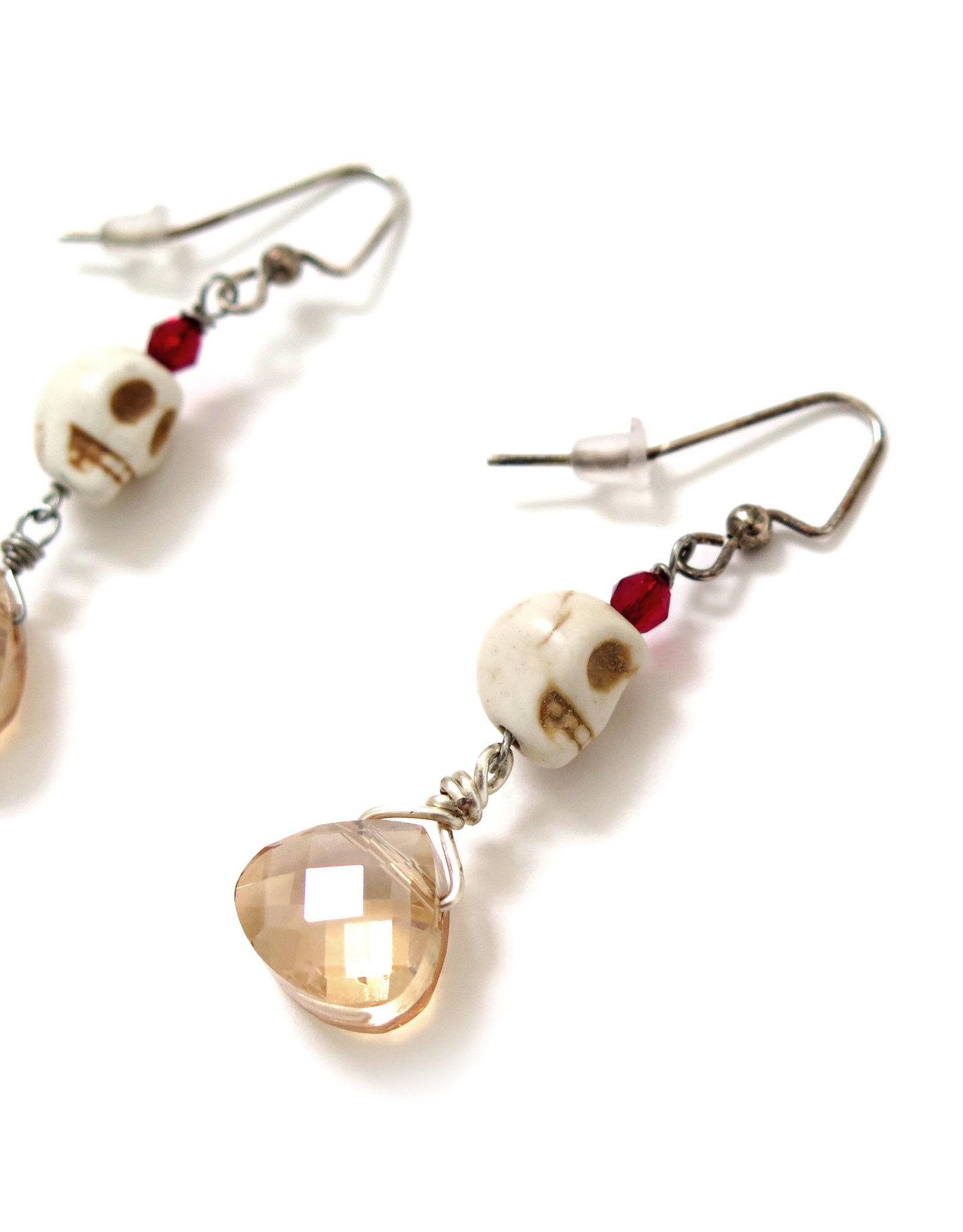 Skull Earrings with small champagne jewel, Dana Diederich
