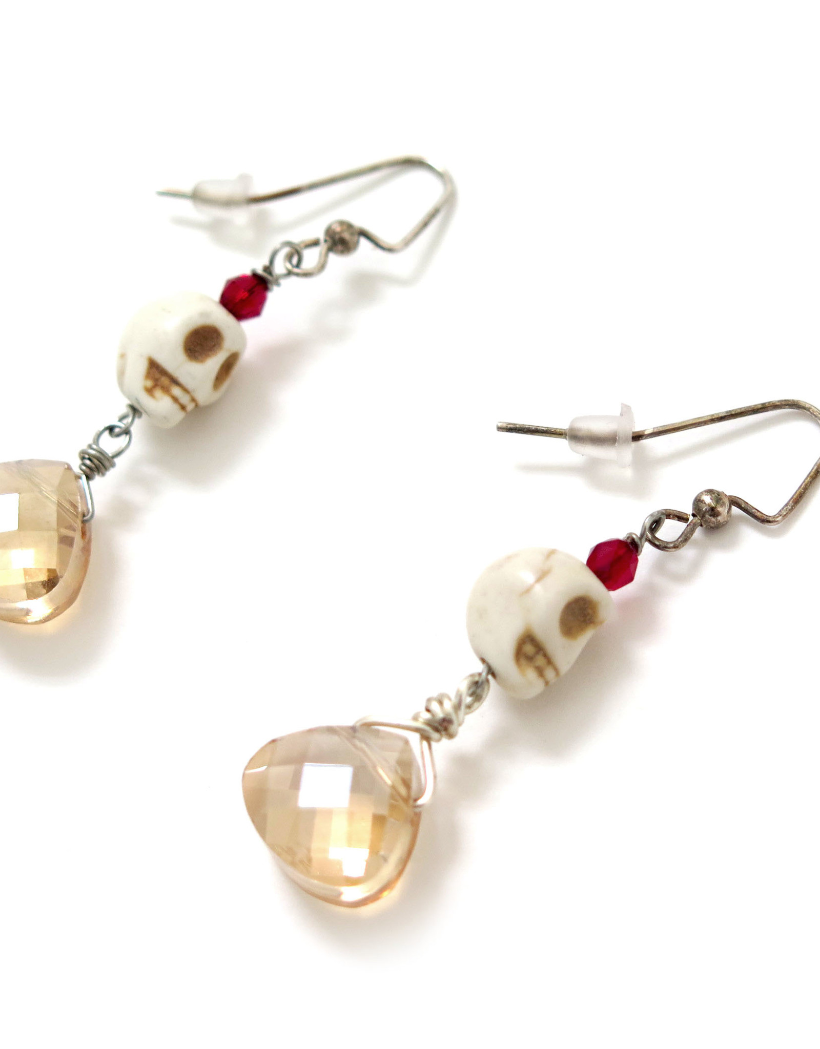 Skull Earrings with Small Champagne Jewel by Dana Diederich