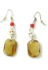 Skull Earrings with large amber jewel, Dana Diederich