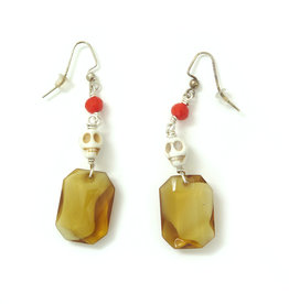 Skull Earrings with large amber jewel, Dana Diederich