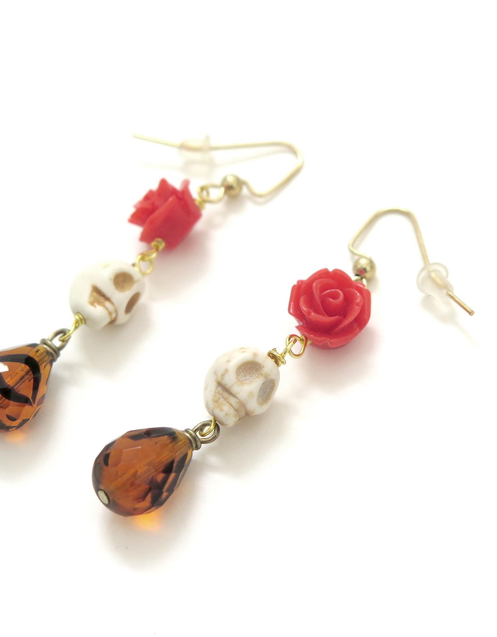 Skull Earrings with Rose by Dana Diederich