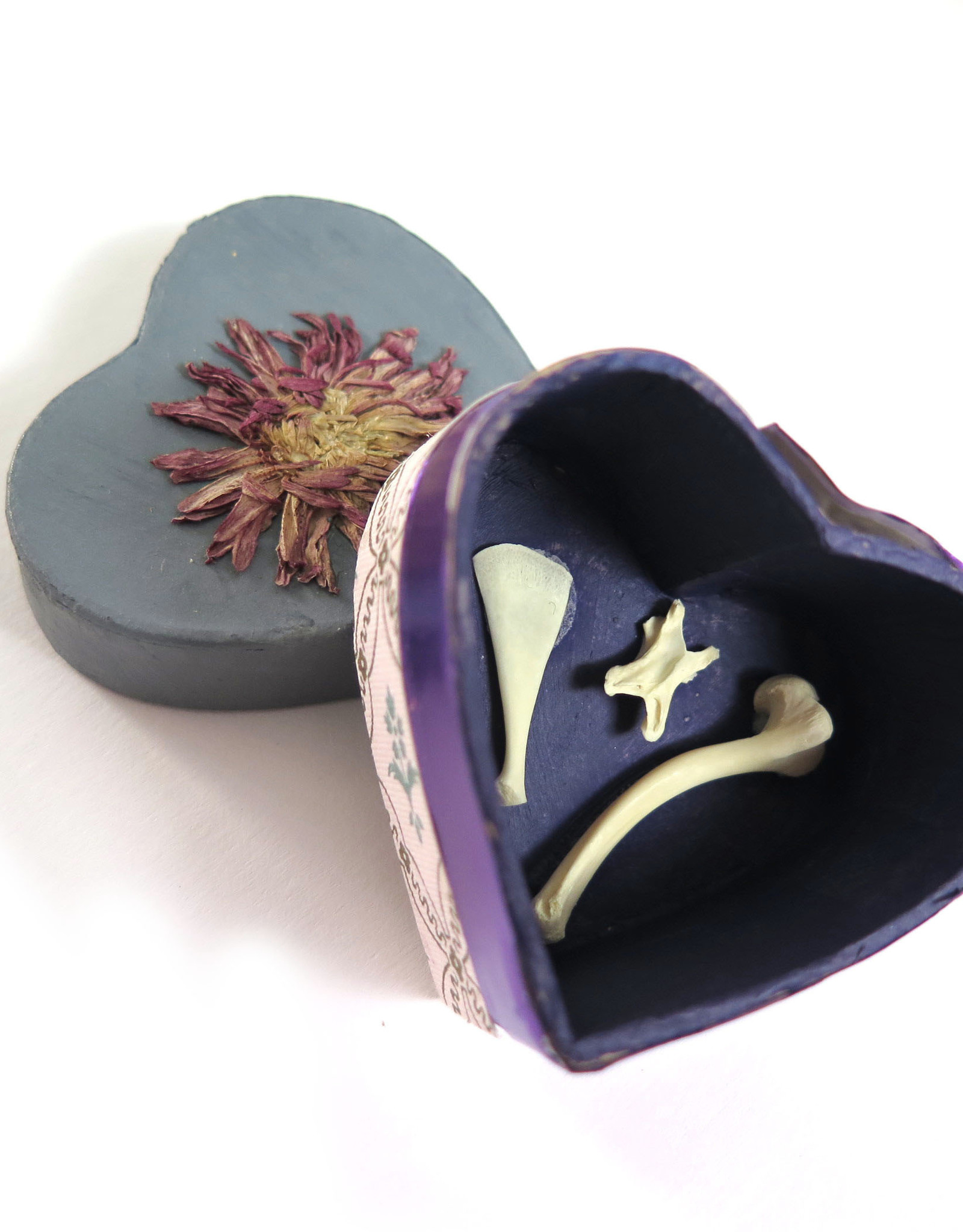 Flower and Bone Heart Box by Spooky Spectacles