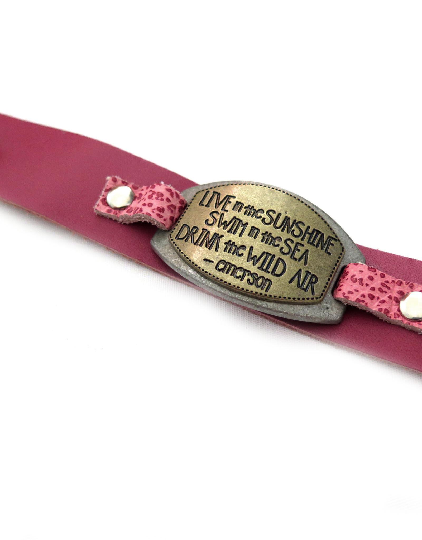 Leather Bracelet w/ Metal Connector by Eva Airam Studio