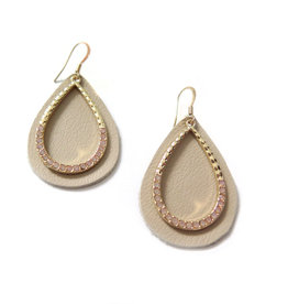 Upcycled tan and gold Leather Earrings by Eva Airam Studio