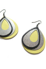 Upcycled Chartreuse and Black Leather Earrings by Eva Airam Studio