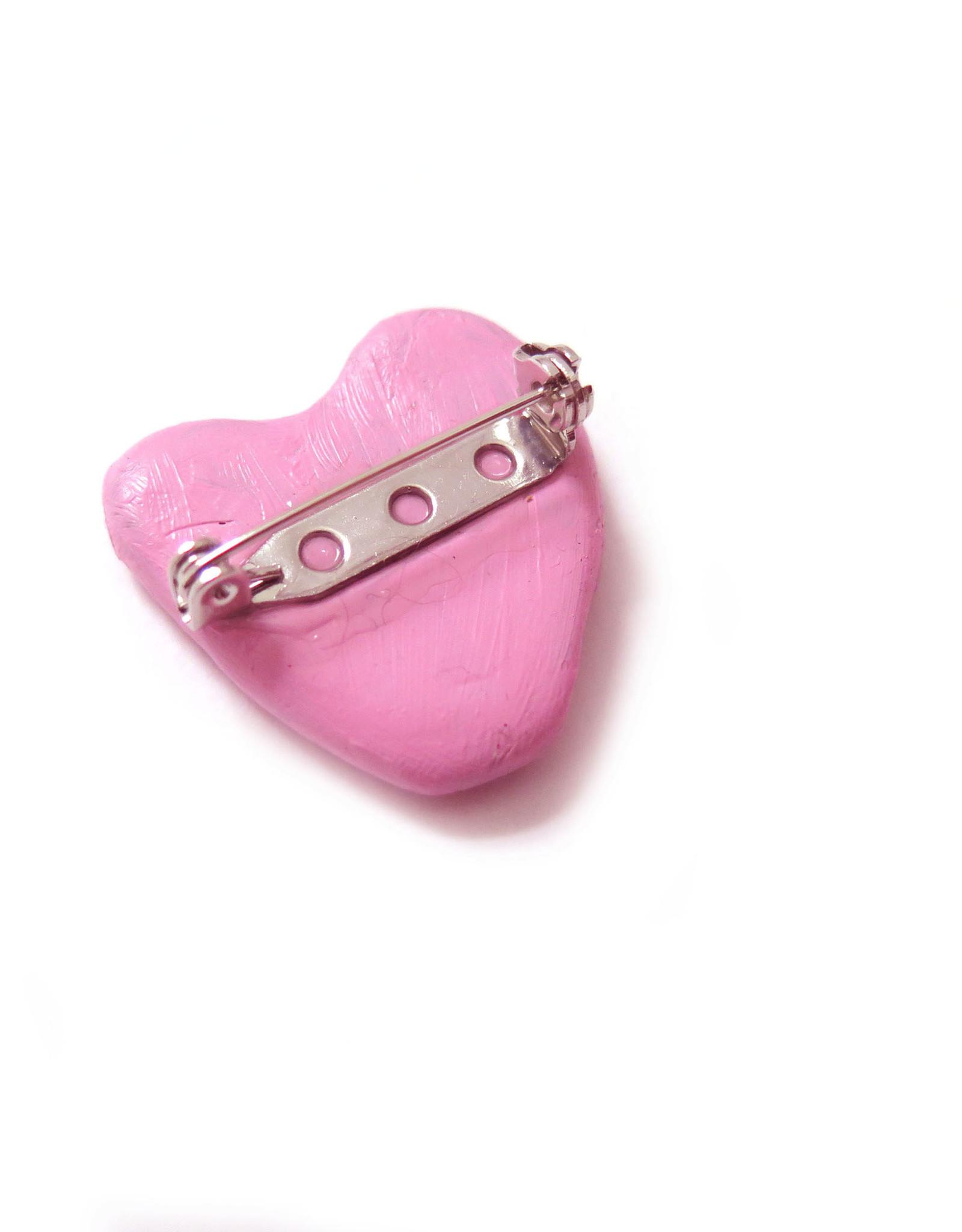 Eve Senderhauf Small Heart Clay Pin by Eve Senderhauf