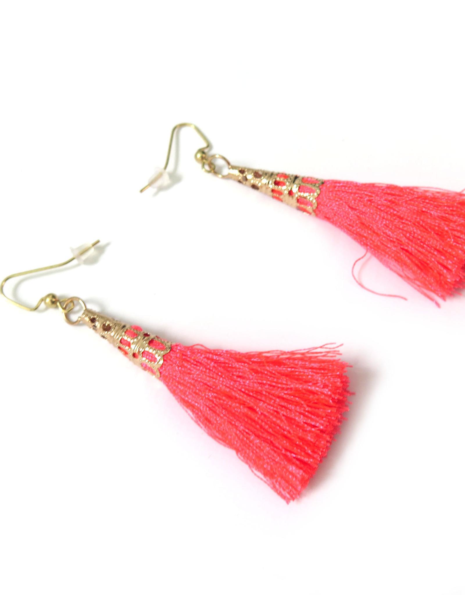 Hot Pink Tassle Earrings, Dana Diederich