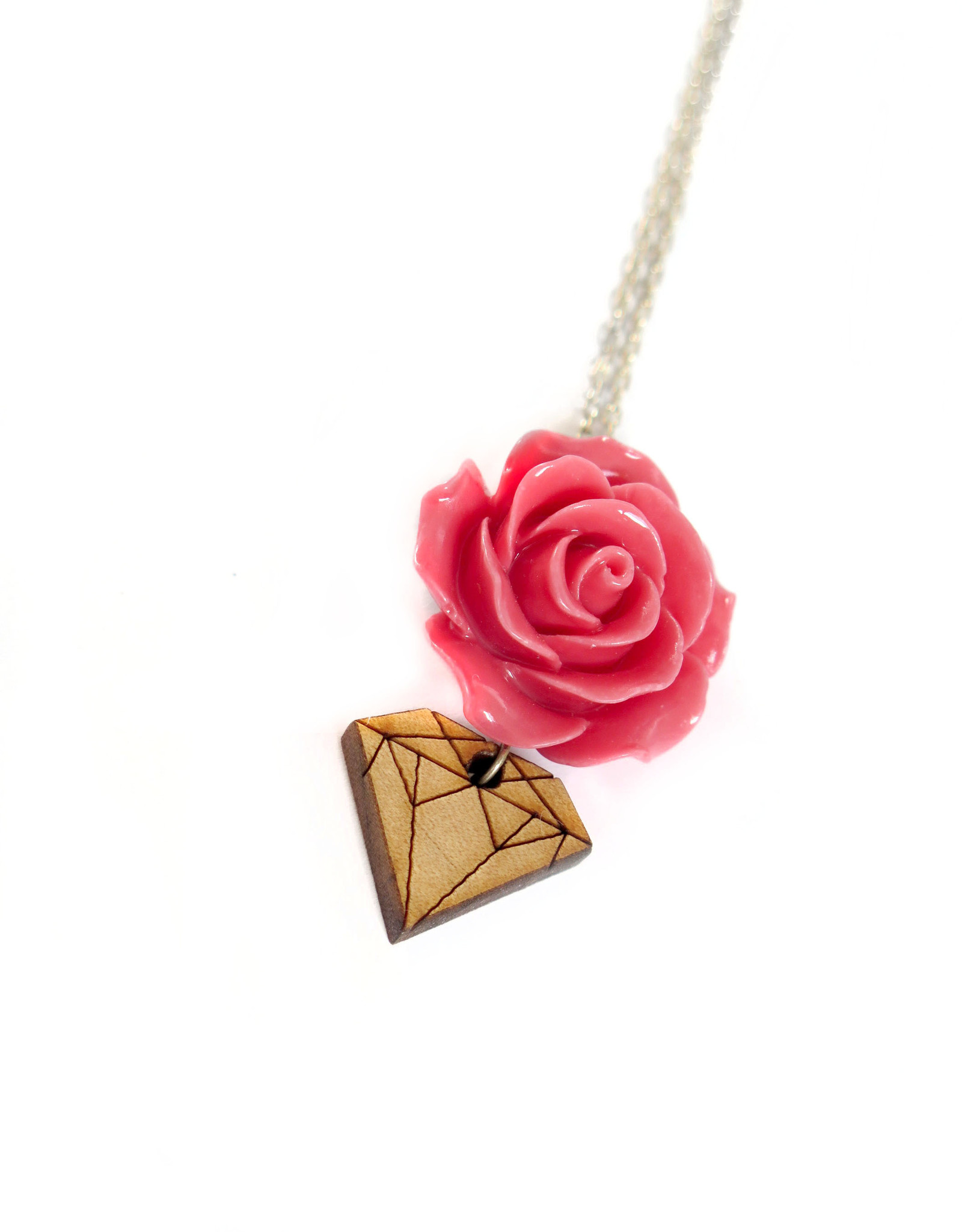 Rose and Wood Diamond Necklace, Dana Diederich