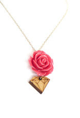 Rose and Wood Diamond Necklace by Dana Diederich