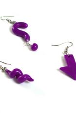 """Purple Set of 3 Single Earrings:  """"?""""  """"Arrow""""  """"Spiral"""" by GERM Jewelry"""