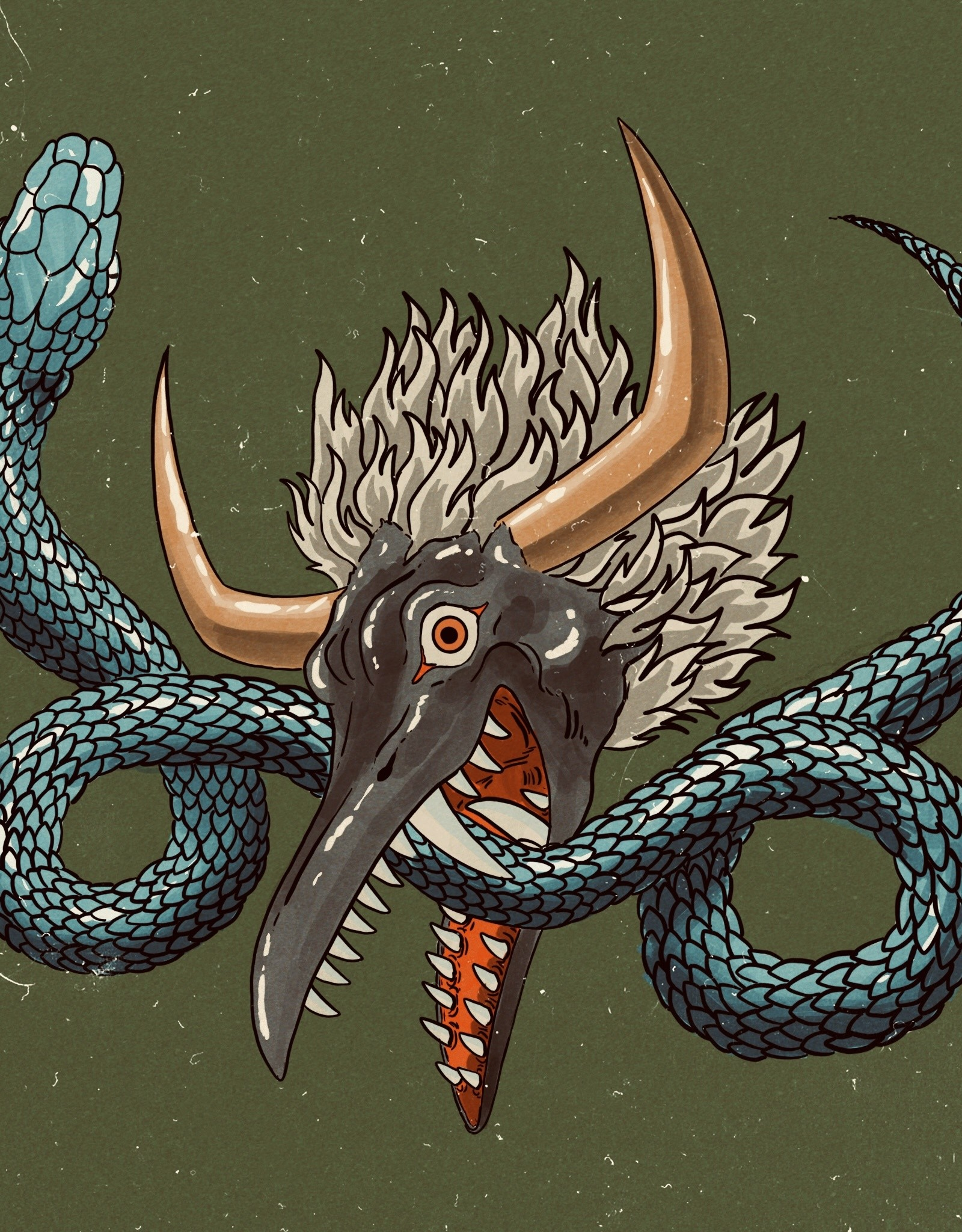 """Garuda Mask"" print by Ryan Brumback"