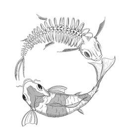 'Flesh and Bones - Koi Fish'' sticker by Laiqah Illustrations