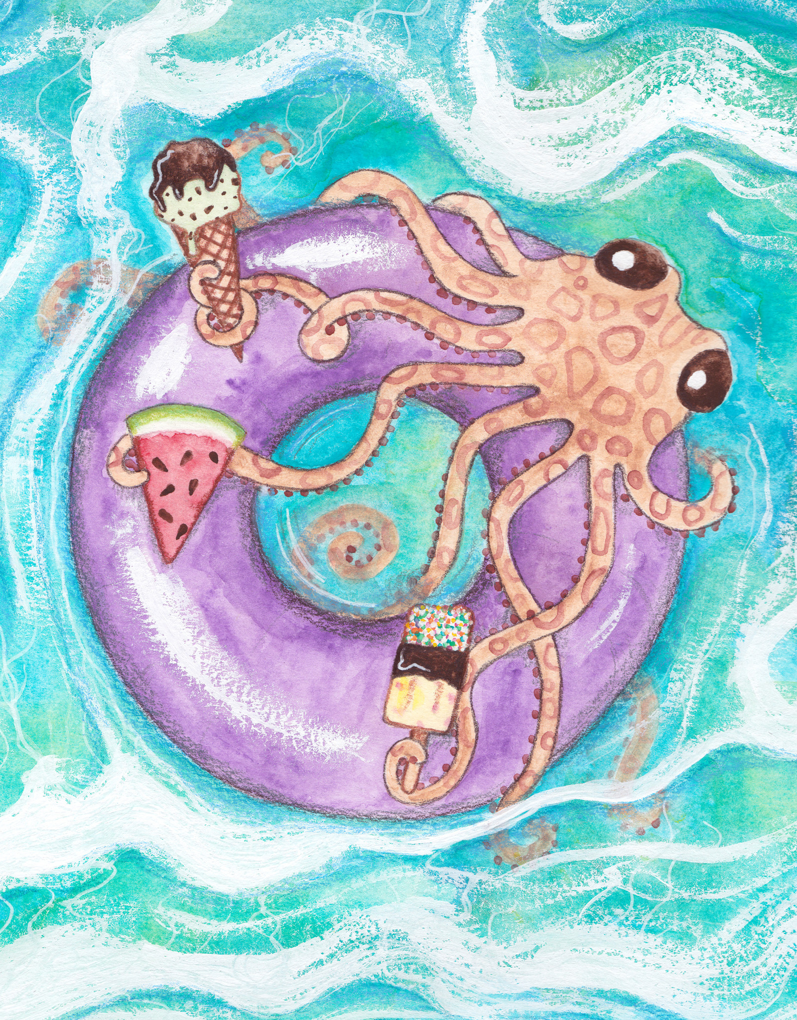 'Afternoon at the Beach''  sticker by The Inky Octopus