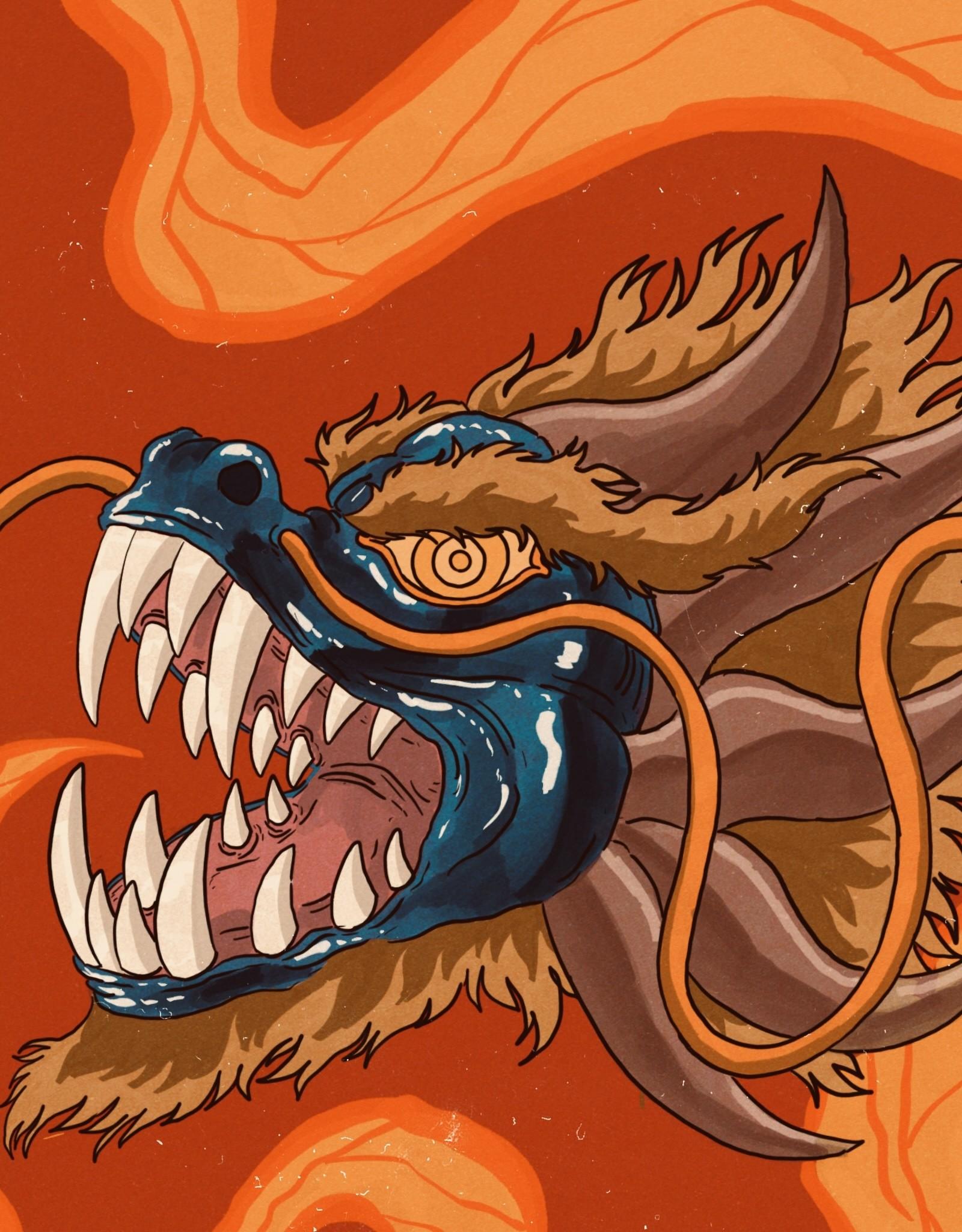 'Dragon Mask'' sticker by Ryan Brumback