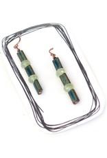 Prehnite and Ceramic Tile Earrings by Jason Hall