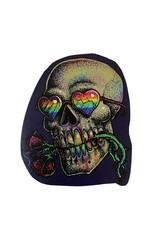 """""""Gay Horror!"""" Rainbow Skull Sticker by The Miasma"""