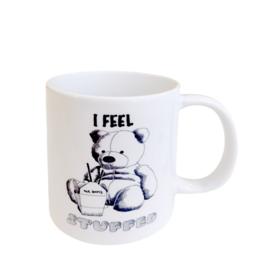"""I feel stuffed"" mug by Scott Dickens, All4Pun"