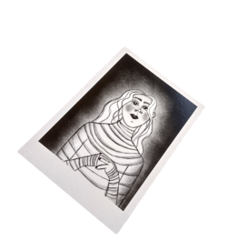 Mummy Polariod Postcard by Lizzie Monsreal