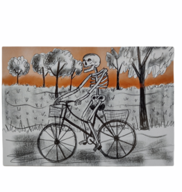 Biking Skeleton Postcard by Lizzie Monsreal