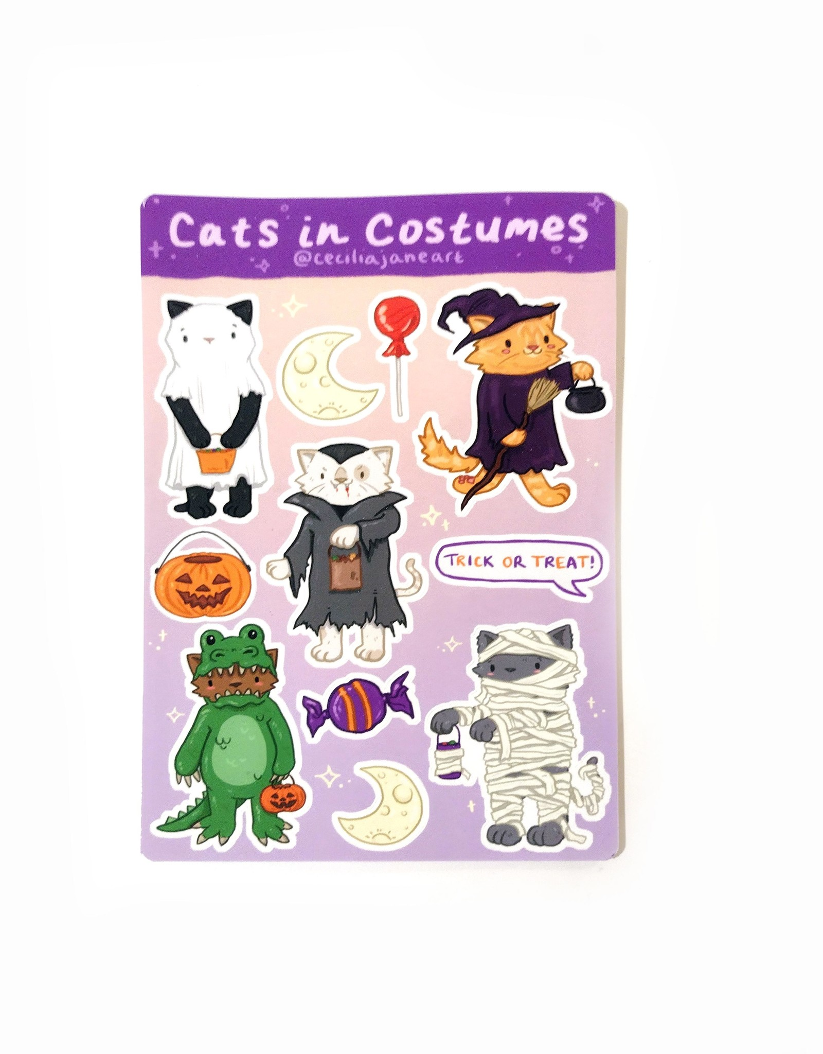 """""""Cats in Costumes"""" Sticker Sheet by Cecilia Jane"""